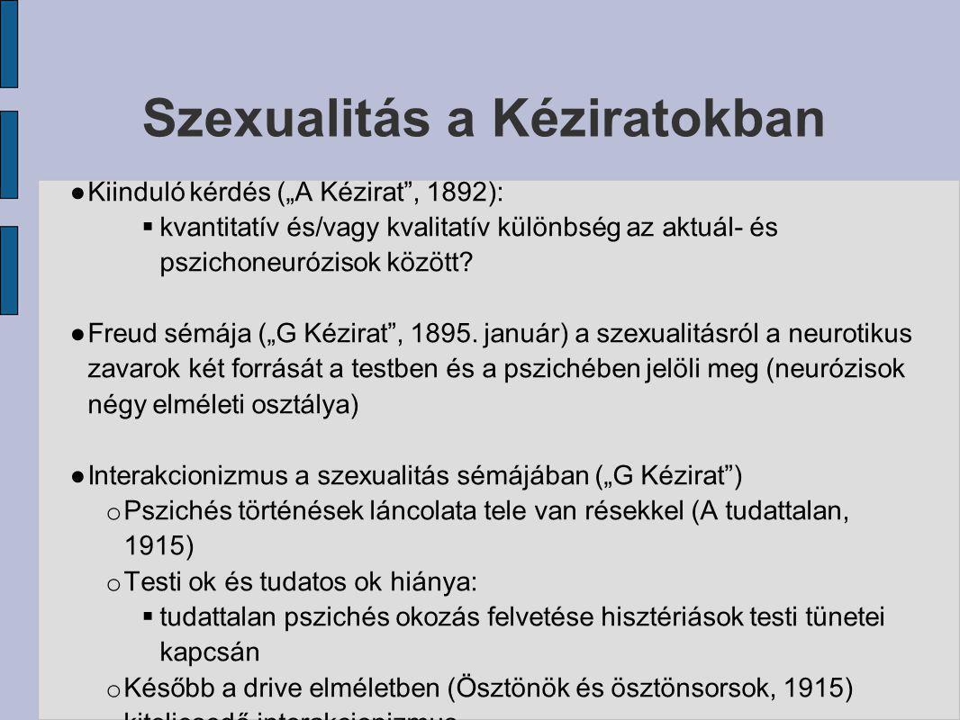 """Szexualitás a Kéziratokban ● Kiinduló kérdés (""""A Kézirat"""", 1892):  kvantitatív és/vagy kvalitatív különbség az aktuál- és pszichoneurózisok között? ●"""