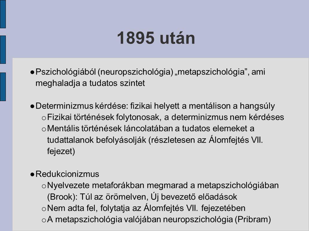 """1895 után ● Pszichológiából (neuropszichológia) """"metapszichológia"""", ami meghaladja a tudatos szintet ● Determinizmus kérdése: fizikai helyett a mentál"""