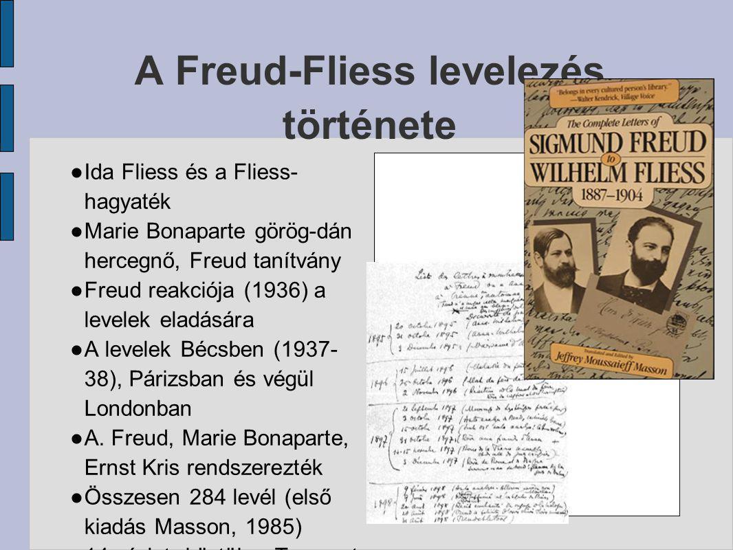 A Freud-Fliess levelezés története ● Ida Fliess és a Fliess- hagyaték ● Marie Bonaparte görög-dán hercegnő, Freud tanítvány ● Freud reakciója (1936) a