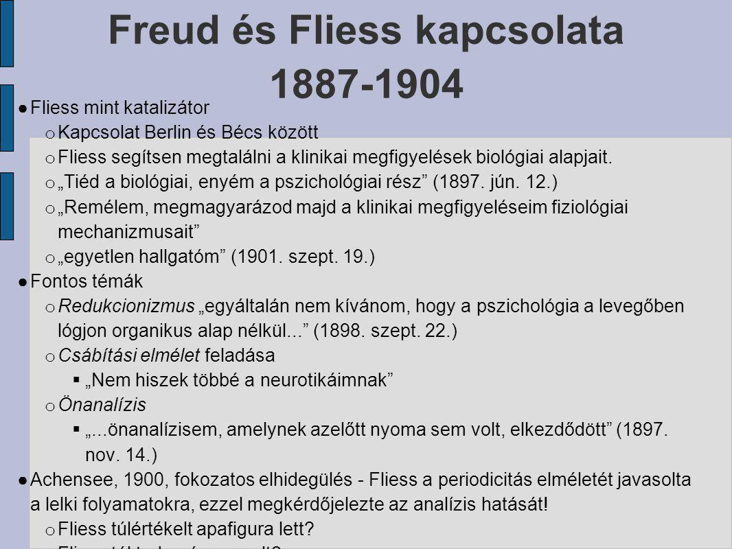 Freud és Fliess kapcsolata 1887-1904 ● Fliess mint katalizátor o Kapcsolat Berlin és Bécs között o Fliess segítsen megtalálni a klinikai megfigyelések