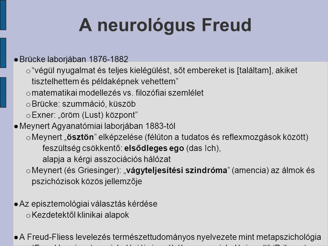 """A neurológus Freud ● Brücke laborjában 1876-1882 o """"végül nyugalmat és teljes kielégülést, sőt embereket is [találtam], akiket tisztelhettem és példak"""