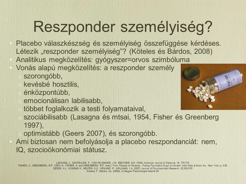 Placebo a gyakorlatban 45% használt már a beteg megnyugtatására (18%) ne panaszkodjon tovább (6%) 12% Be kéne tiltani 80%: a kollégák rendszeresen használják Magyarország 80% használt már (átlag kb.
