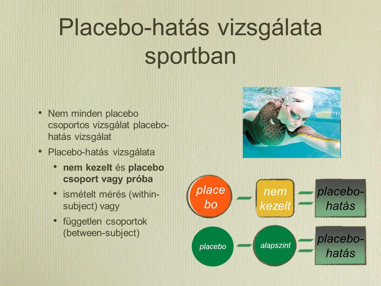 Placebo-hatás vizsgálata sportban Nem minden placebo csoportos vizsgálat placebo- hatás vizsgálat Placebo-hatás vizsgálata nem kezelt és placebo csopo