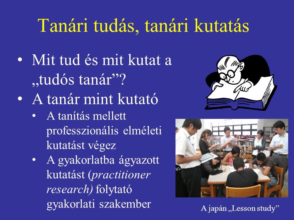 """Tanári tudás, tanári kutatás Mit tud és mit kutat a """"tudós tanár ."""