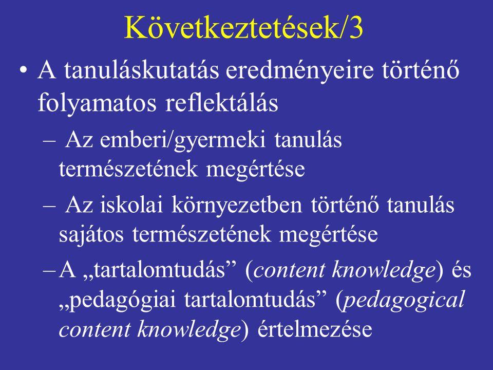 """Következtetések/3 A tanuláskutatás eredményeire történő folyamatos reflektálás – Az emberi/gyermeki tanulás természetének megértése – Az iskolai környezetben történő tanulás sajátos természetének megértése –A """"tartalomtudás (content knowledge) és """"pedagógiai tartalomtudás (pedagogical content knowledge) értelmezése"""