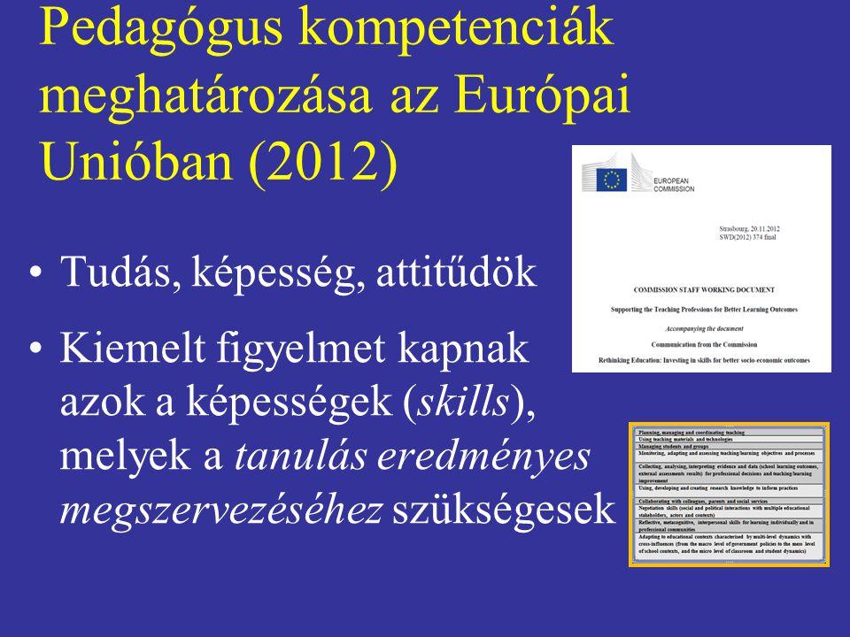 Pedagógus kompetenciák meghatározása az Európai Unióban (2012) Tudás, képesség, attitűdök Kiemelt figyelmet kapnak azok a képességek (skills), melyek a tanulás eredményes megszervezéséhez szükségesek