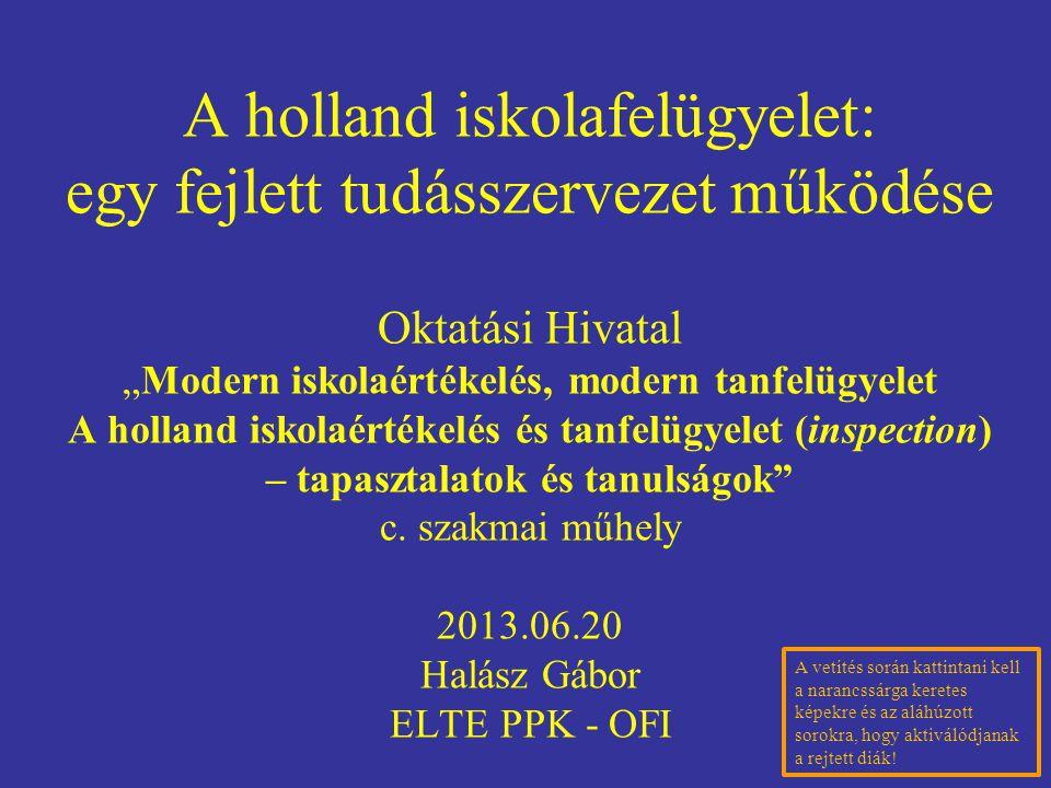 """A holland iskolafelügyelet: egy fejlett tudásszervezet működése Oktatási Hivatal """"Modern iskolaértékelés, modern tanfelügyelet A holland iskolaértékel"""