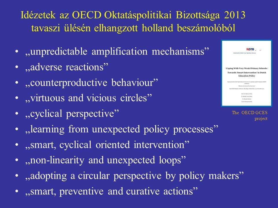 """Idézetek az OECD Oktatáspolitikai Bizottsága 2013 tavaszi ülésén elhangzott holland beszámolóból """"unpredictable amplification mechanisms"""" """"adverse rea"""