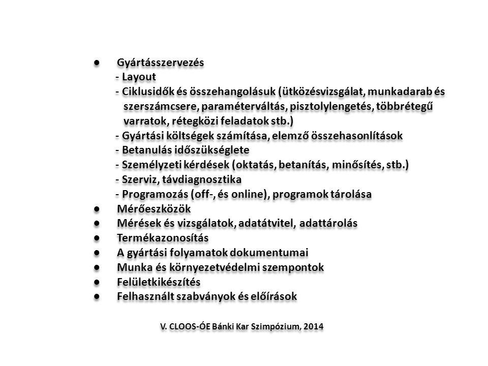 ● Gyártásszervezés - Layout - Ciklusidők és összehangolásuk (ütközésvizsgálat, munkadarab és szerszámcsere, paraméterváltás, pisztolylengetés, többrét