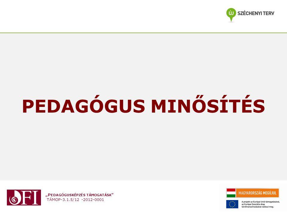 """""""P EDAGÓGUSKÉPZÉS TÁMOGATÁSA """" TÁMOP-3.1.5/12 -2012-0001 PEDAGÓGUS MINŐSÍTÉS"""