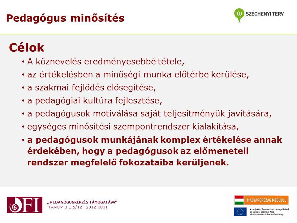 """""""P EDAGÓGUSKÉPZÉS TÁMOGATÁSA """" TÁMOP-3.1.5/12 -2012-0001 Pedagógus minősítés Célok A köznevelés eredményesebbé tétele, az értékelésben a minőségi munk"""