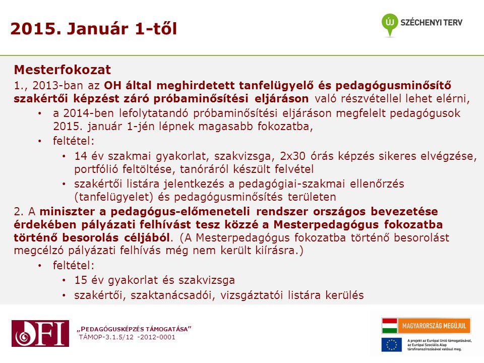 """""""P EDAGÓGUSKÉPZÉS TÁMOGATÁSA """" TÁMOP-3.1.5/12 -2012-0001 2015. Január 1-től Mesterfokozat 1., 2013-ban az OH által meghirdetett tanfelügyelő és pedagó"""