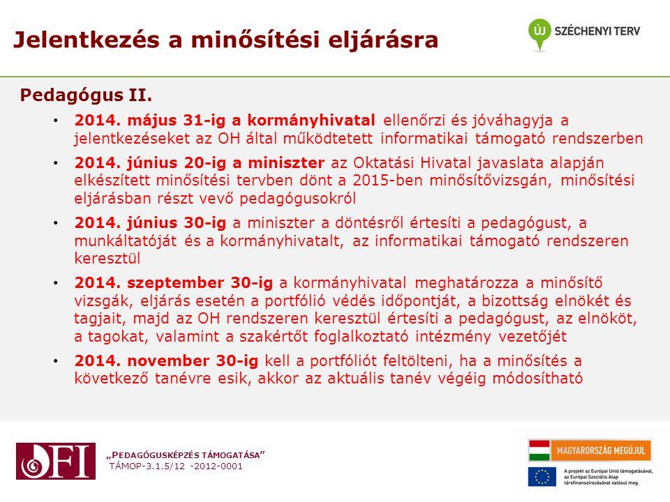 """""""P EDAGÓGUSKÉPZÉS TÁMOGATÁSA """" TÁMOP-3.1.5/12 -2012-0001 Jelentkezés a minősítési eljárásra Pedagógus II. 2014. május 31-ig a kormányhivatal ellenőrzi"""