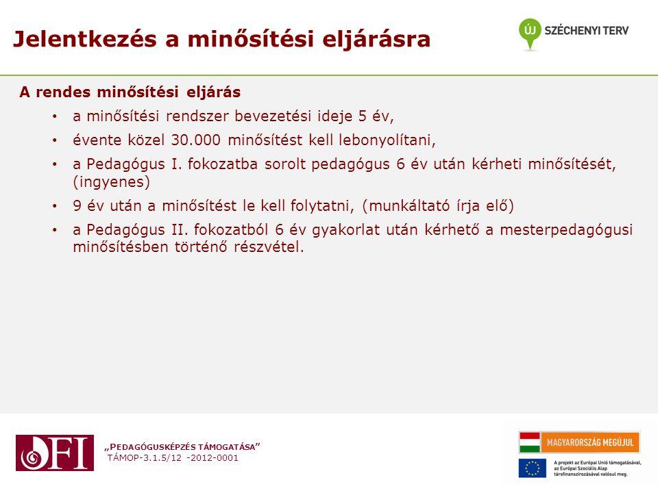 """""""P EDAGÓGUSKÉPZÉS TÁMOGATÁSA """" TÁMOP-3.1.5/12 -2012-0001 Jelentkezés a minősítési eljárásra A rendes minősítési eljárás a minősítési rendszer bevezeté"""