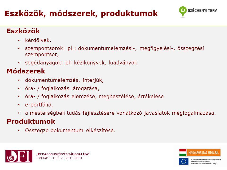 """""""P EDAGÓGUSKÉPZÉS TÁMOGATÁSA TÁMOP-3.1.5/12 -2012-0001 Minősítő vizsga, minősítési eljárás A minősítési eljárás (gyakornok esetében vizsga) módszerei: a portfólió előzetes vizsgálata, a pedagógus által tartott foglalkozás látogatása, értékelése, megbeszélése, az országos pedagógiai-szakmai ellenőrzés során látogatott foglalkozások tapasztalatainak és az összegző értékelésnek a megismerése, az intézményi önértékelés pedagógusra vonatkozó elemeinek megismerése, az információk értékelése, felkészülés a védés lebonyolítására a portfólióvédés lebonyolítása"""