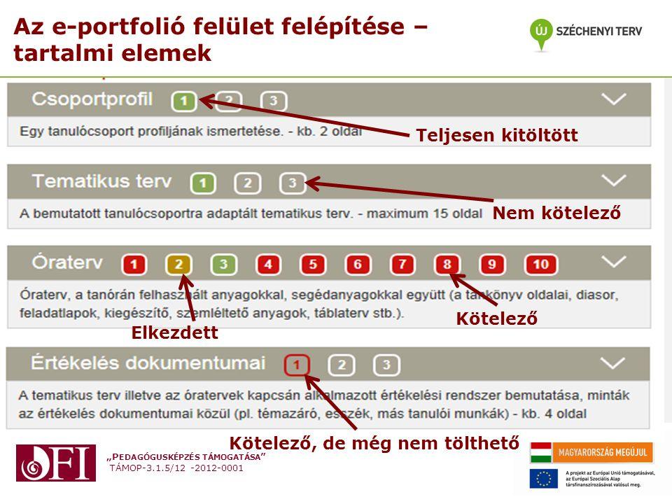 """""""P EDAGÓGUSKÉPZÉS TÁMOGATÁSA """" TÁMOP-3.1.5/12 -2012-0001 Az e-portfolió felület felépítése – tartalmi elemek Teljesen kitöltött Nem kötelező Kötelező"""