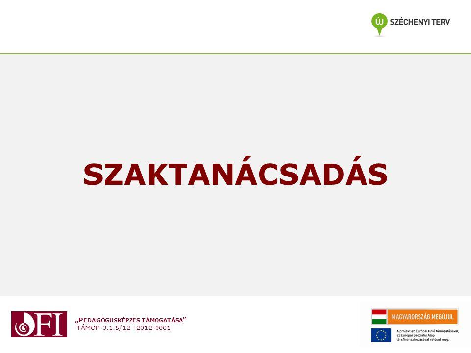 """""""P EDAGÓGUSKÉPZÉS TÁMOGATÁSA TÁMOP-3.1.5/12 -2012-0001 Szaktanácsadás/tantárgygondozás Célok a pedagógusok fejlesztő célú támogatása, az új NAT-ban és kerettantervekben meghatározott nevelési célok, fejlesztési területek, ismeretek elsajátításának és alkalmazásának támogatása."""