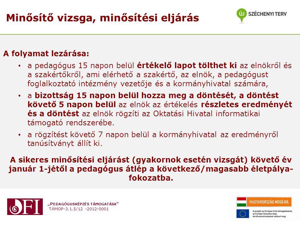"""""""P EDAGÓGUSKÉPZÉS TÁMOGATÁSA """" TÁMOP-3.1.5/12 -2012-0001 Minősítő vizsga, minősítési eljárás A folyamat lezárása: a pedagógus 15 napon belül értékelő"""