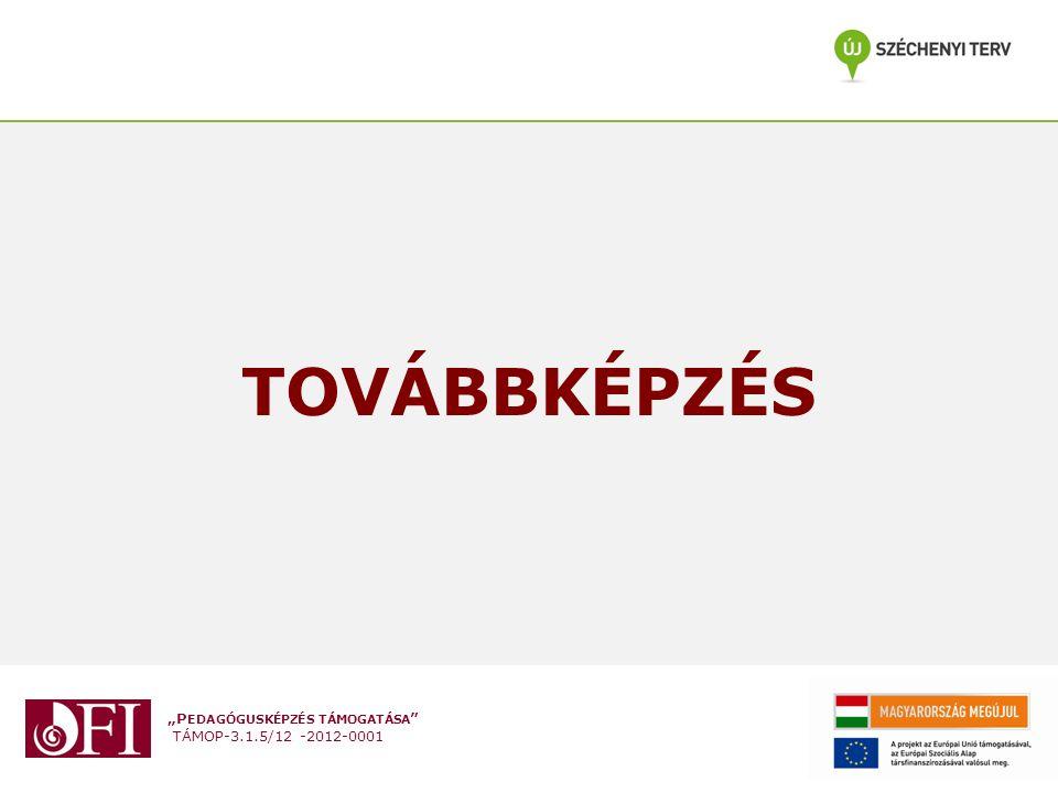 """""""P EDAGÓGUSKÉPZÉS TÁMOGATÁSA """" TÁMOP-3.1.5/12 -2012-0001 TOVÁBBKÉPZÉS"""