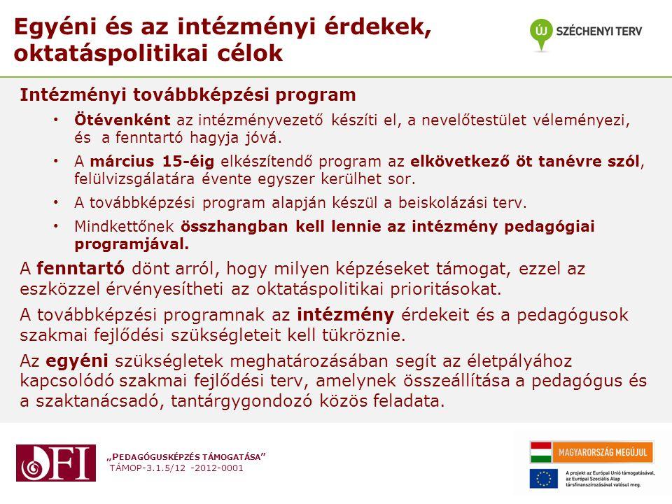 """""""P EDAGÓGUSKÉPZÉS TÁMOGATÁSA TÁMOP-3.1.5/12 -2012-0001 A pedagógusértékelés elemei: a pedagóguskompetenciák 1.szakmai feladatok, szaktudományos, szaktárgyi, tantervi tudás 2.pedagógiai folyamatok, tevékenységek tervezése és a megvalósításukhoz kapcsolódó önreflexiók 3.a tanulás támogatása 4.a tanuló személyiségének fejlesztése, az egyéni bánásmód érvényesülése, a hátrányos helyzetű, sajátos nevelési igényű vagy beilleszkedési, tanulási, magatartási nehézséggel küzdő gyermek, tanuló többi gyermekkel, tanulóval együtt történő sikeres neveléséhez, oktatásához szükséges megfelelő módszertani felkészültség 5.a tanulói csoportok, közösségek alakulásának segítése, fejlesztése, esélyteremtés, nyitottság a különböző társadalmi-kulturális sokféleségre, integrációs tevékenység, osztályfőnöki tevékenység 6.folyamatok és a tanulók személyiségfejlődésének folyamatos értékelése, elemzése 7.kommunikáció és szakmai együttműködés, problémamegoldás 8.elkötelezettség és szakmai felelősségvállalás a szakmai fejlődésért"""