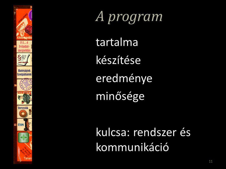 11 A program tartalma készítése eredménye minősége kulcsa: rendszer és kommunikáció
