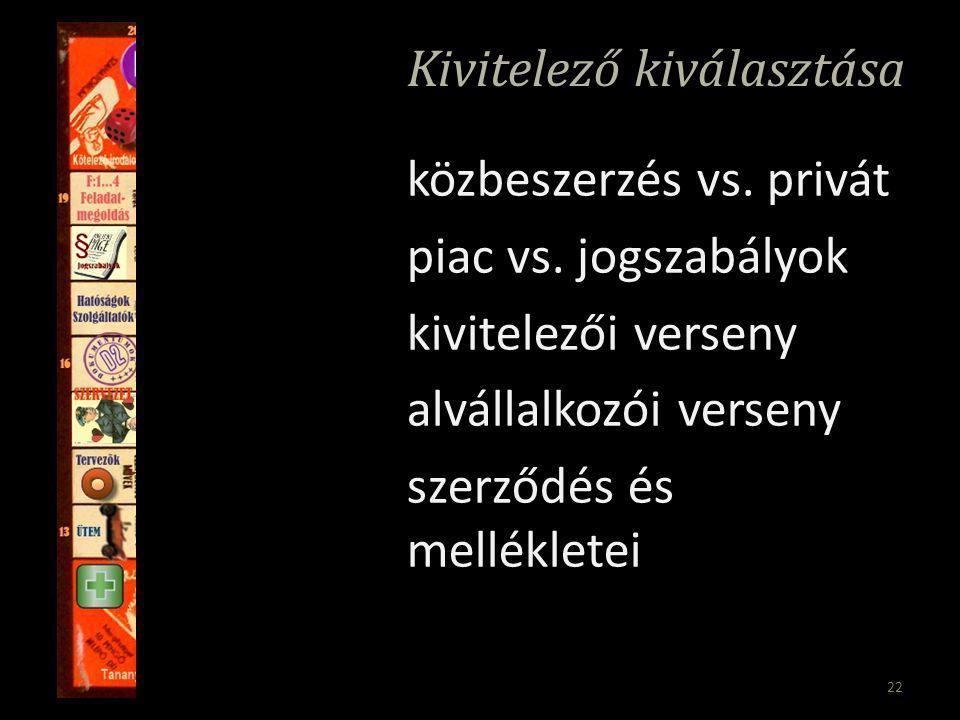 22 Kivitelező kiválasztása közbeszerzés vs. privát piac vs.