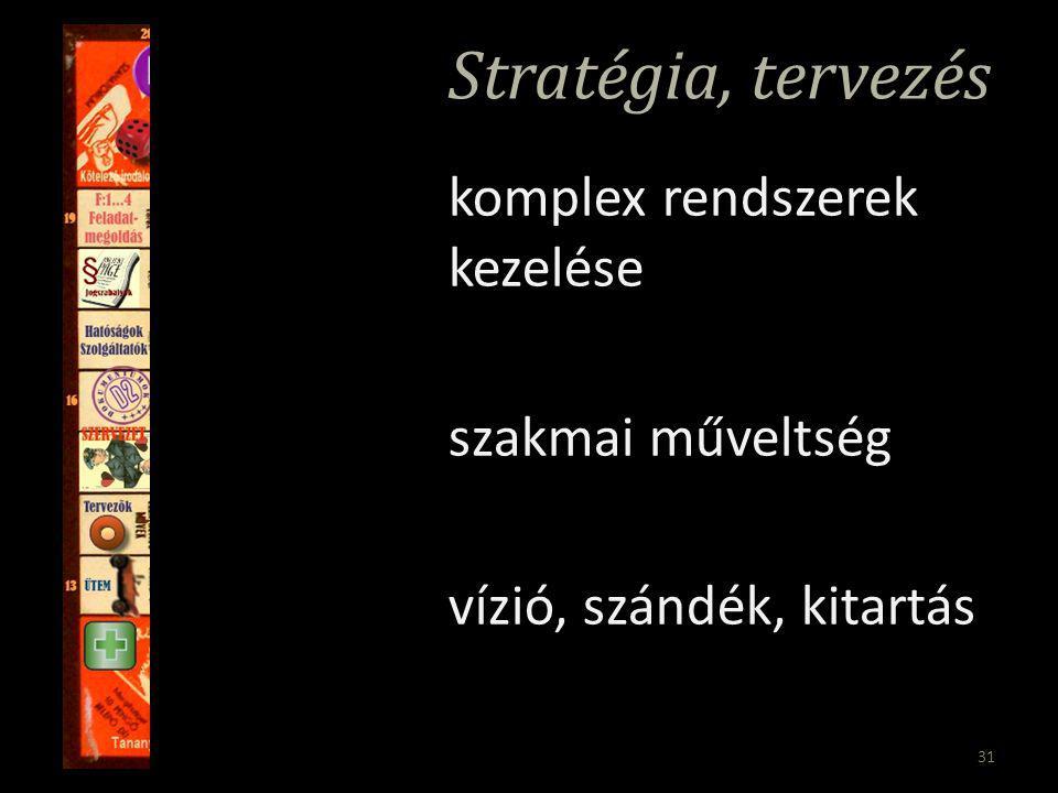 31 Stratégia, tervezés komplex rendszerek kezelése szakmai műveltség vízió, szándék, kitartás