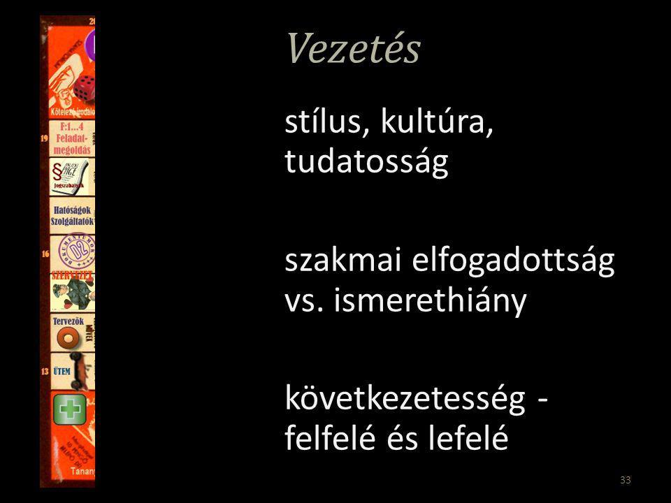33 Vezetés stílus, kultúra, tudatosság szakmai elfogadottság vs.