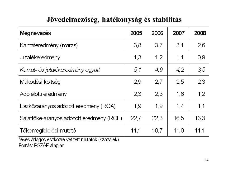 14 Jövedelmezőség, hatékonyság és stabilitás