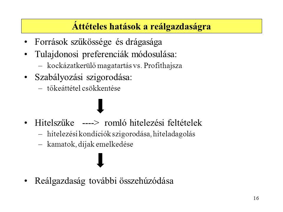 16 Források szűkössége és drágasága Tulajdonosi preferenciák módosulása: –kockázatkerülő magatartás vs. Profithajsza Szabályozási szigorodása: –tőkeát