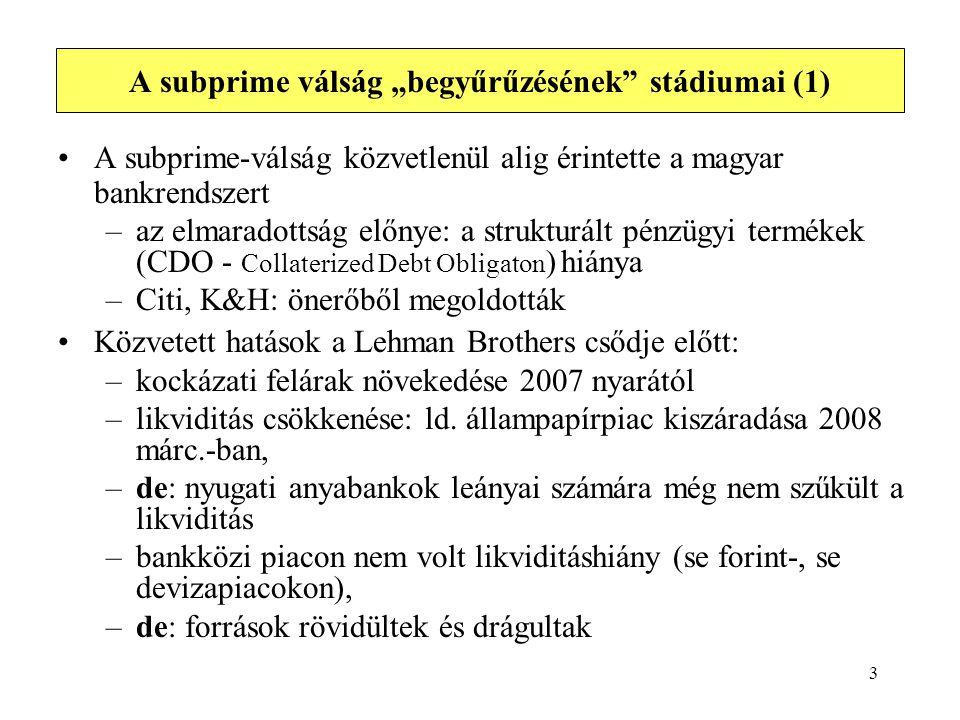 """3 A subprime válság """"begyűrűzésének"""" stádiumai (1) A subprime-válság közvetlenül alig érintette a magyar bankrendszert –az elmaradottság előnye: a str"""