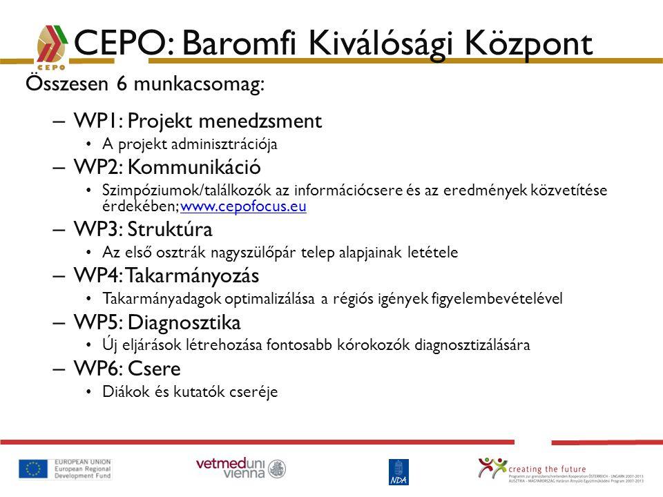 CEPO: Baromfi Kiválósági Központ Összesen 6 munkacsomag: – WP1: Projekt menedzsment A projekt adminisztrációja – WP2: Kommunikáció Szimpóziumok/találk