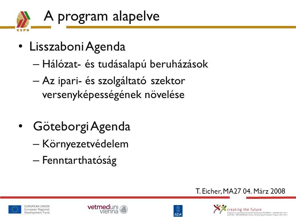 A program alapelve Lisszaboni Agenda – Hálózat- és tudásalapú beruházások – Az ipari- és szolgáltató szektor versenyképességének növelése Göteborgi Ag