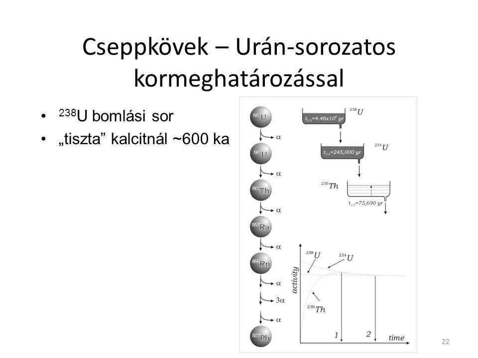 """Cseppkövek – Urán-sorozatos kormeghatározással 238 U bomlási sor """"tiszta"""" kalcitnál ~600 ka 22"""