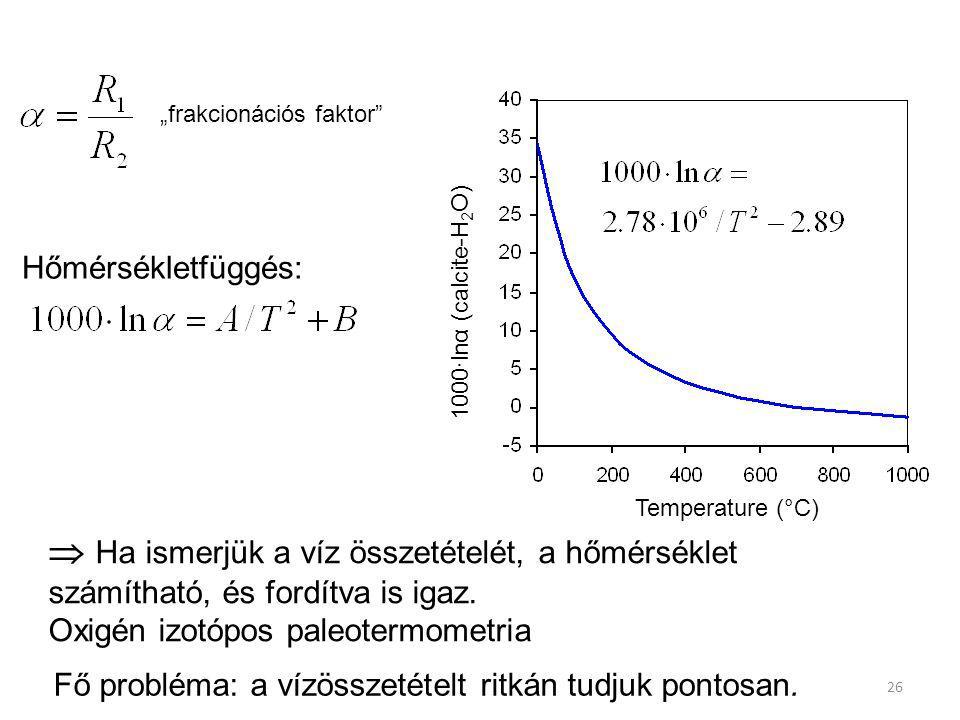 1000·lnα (calcite-H 2 O) Temperature (°C)  Ha ismerjük a víz összetételét, a hőmérséklet számítható, és fordítva is igaz. Oxigén izotópos paleotermom