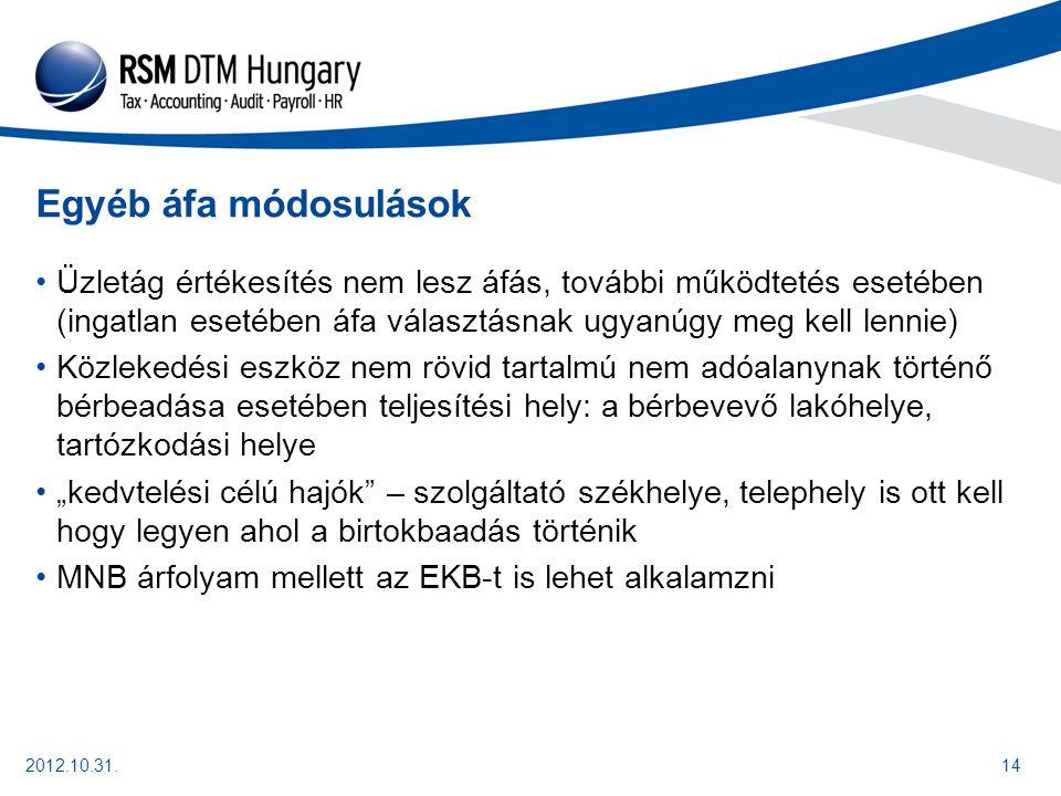 2012.10.31.15 Fontos további módosulás Pénzforgalmi számla nyitására kötelezett adózó esetében, szolgáltatás, termékértékesítés esetében szerződésenként egy naptári hónapban legfeljebb 1,5 millió forint kp fizetés lehet Rendeltetés szerű joggyakorlás elve – összeszámítás lehet A meghaladó rész 20%-a a bírság, mindkét félnek!