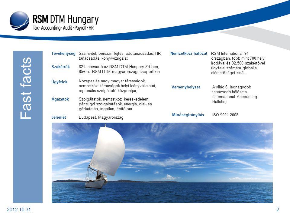 2012.10.31.2 Szakértők62 tanácsadó az RSM DTM Hungary Zrt-ben, 85+ az RSM DTM magyarországi csoportban Ügyfelek Közepes és nagy magyar társaságok, nemzetközi társaságok helyi leányvállalatai, regionális szolgáltató-központjai, TevékenységSzámvitel, bérszámfejtés, adótanácsadás, HR tanácsadás, könyvvizsgálat JelenlétBudapest, Magyarország RSM International 94 országban, több mint 700 helyi irodával és 32,500 szakértővel ügyfelei számára globális elérhetőséget kínál.