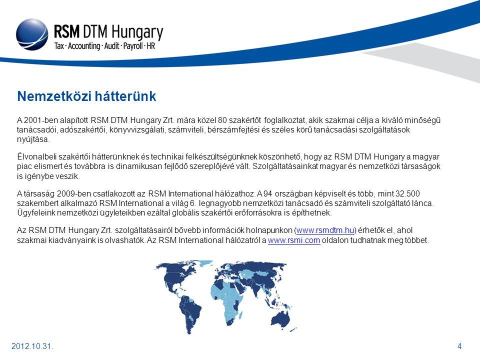 2012.10.31.4 Nemzetközi hátterünk A 2001-ben alapított RSM DTM Hungary Zrt.
