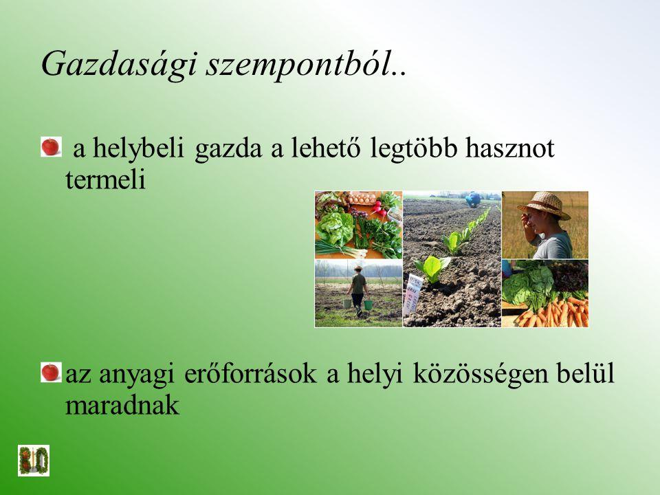 Gazdasági szempontból.. a helybeli gazda a lehető legtöbb hasznot termeli az anyagi erőforrások a helyi közösségen belül maradnak