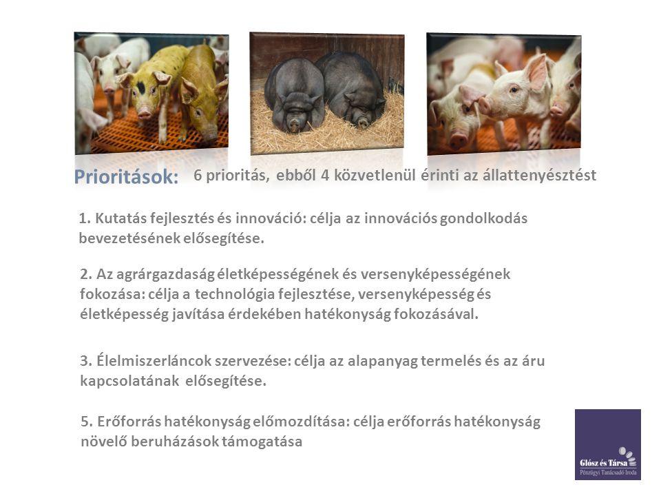 Prioritások: 6 prioritás, ebből 4 közvetlenül érinti az állattenyésztést 1. Kutatás fejlesztés és innováció: célja az innovációs gondolkodás bevezetés
