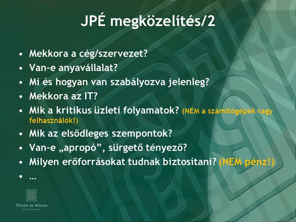 JPÉ megközelítés/2 Mekkora a cég/szervezet? Van-e anyavállalat? Mi és hogyan van szabályozva jelenleg? Mekkora az IT? Mik a kritikus üzleti folyamatok