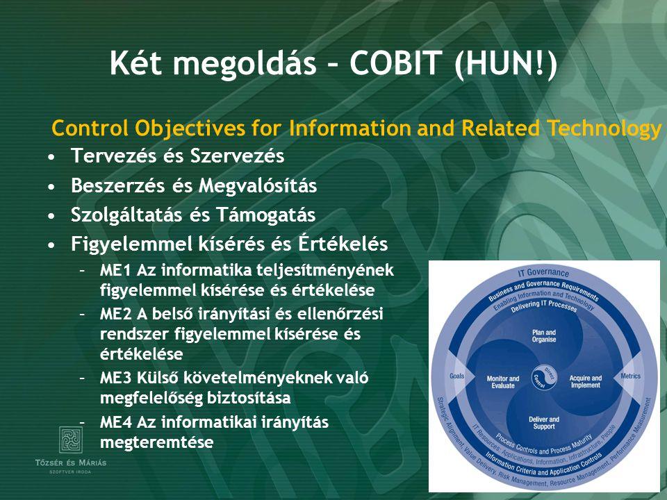 Két megoldás – COBIT (HUN!) Tervezés és Szervezés Beszerzés és Megvalósítás Szolgáltatás és Támogatás Figyelemmel kísérés és Értékelés –ME1 Az informatika teljesítményének figyelemmel kísérése és értékelése –ME2 A belső irányítási és ellenőrzési rendszer figyelemmel kísérése és értékelése –ME3 Külső követelményeknek való megfelelőség biztosítása –ME4 Az informatikai irányítás megteremtése Control Objectives for Information and Related Technology