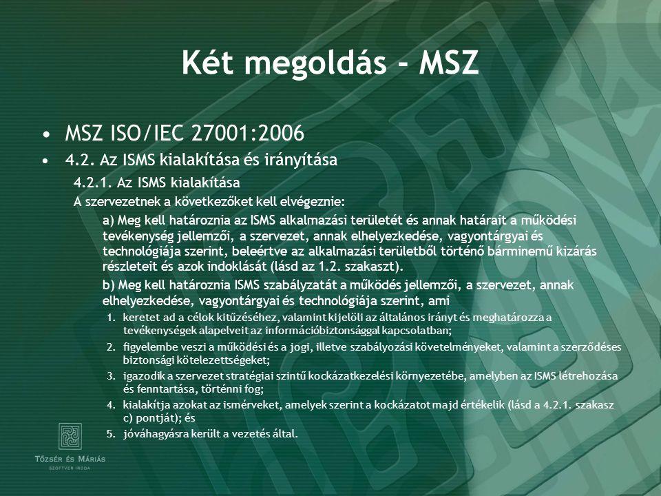 Két megoldás - MSZ MSZ ISO/IEC 27001:2006 4.2. Az ISMS kialakítása és irányítása 4.2.1. Az ISMS kialakítása A szervezetnek a következőket kell elvégez