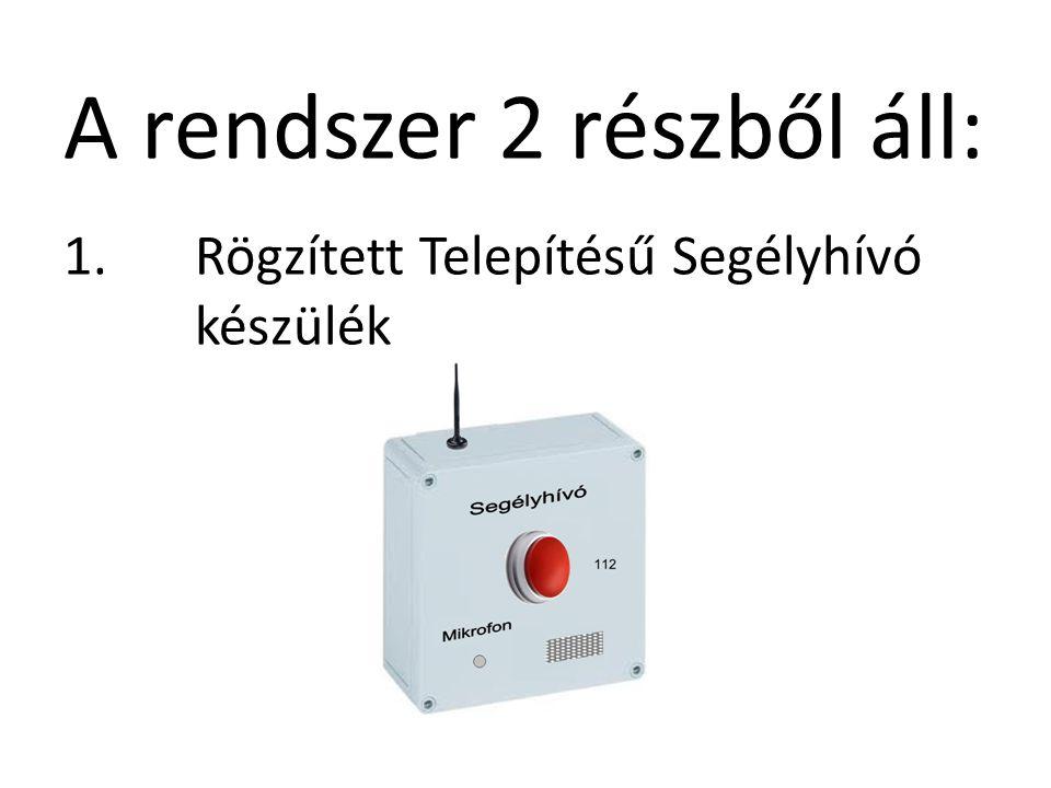 A rendszer 2 részből áll: 1.Rögzített Telepítésű Segélyhívó készülék