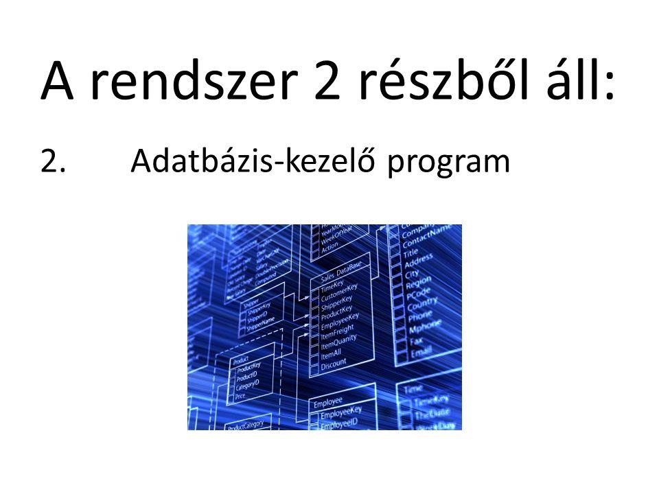 A rendszer 2 részből áll: 2. Adatbázis-kezelő program
