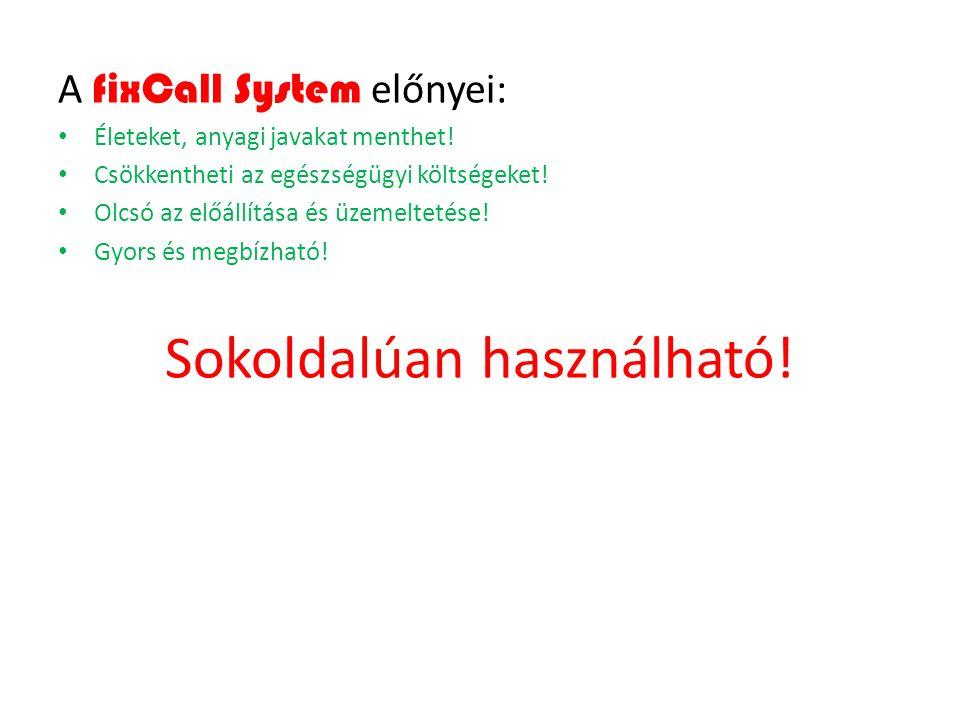 A fixCall System előnyei: Életeket, anyagi javakat menthet! Csökkentheti az egészségügyi költségeket! Olcsó az előállítása és üzemeltetése! Gyors és m