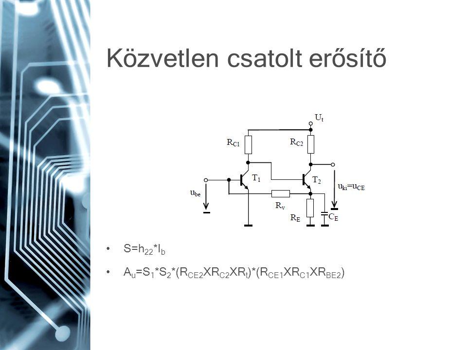 Közvetlen csatolt erősítő S=h 22 *I b A u =S 1 *S 2 *(R CE2 XR C2 XR t )*(R CE1 XR C1 XR BE2 )