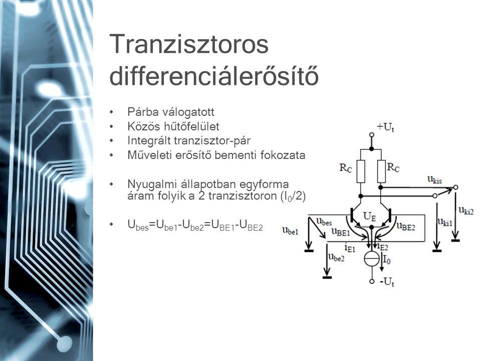 Tranzisztoros differenciálerősítő Párba válogatott Közös hűtőfelület Integrált tranzisztor-pár Műveleti erősítő bementi fokozata Nyugalmi állapotban egyforma áram folyik a 2 tranzisztoron (I 0 /2) U bes =U be1 -U be2 =U BE1 -U BE2