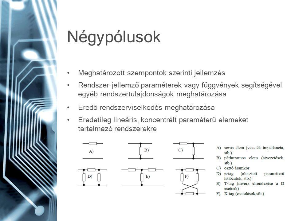 Négypólusok Meghatározott szempontok szerinti jellemzés Rendszer jellemző paraméterek vagy függvények segítségével egyéb rendszertulajdonságok meghatározása Eredő rendszerviselkedés meghatározása Eredetileg lineáris, koncentrált paraméterű elemeket tartalmazó rendszerekre