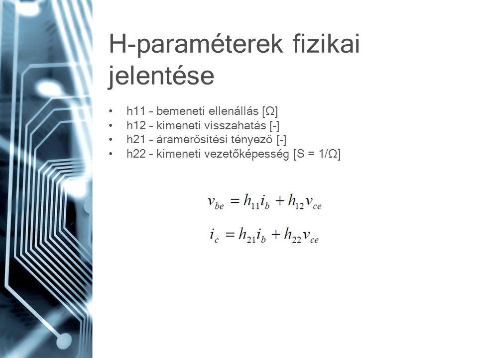H-paraméterek fizikai jelentése h11 – bemeneti ellenállás [Ω] h12 – kimeneti visszahatás [–] h21 – áramerősítési tényező [–] h22 – kimeneti vezetőképesség [S = 1/Ω]